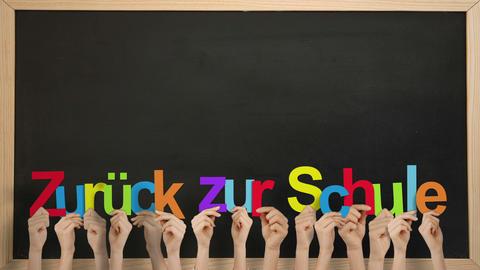 Hands holding up zuruck zur schule Animation