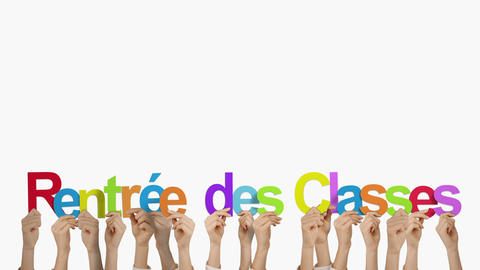Hands holding up rentree des classes Animation