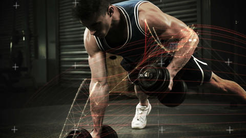 Athlete performing push ups with dumbbell against the animated background Animation