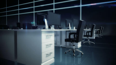 Empty office with desks and computers Animation