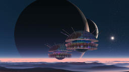 Spaceships, Two Moons And Alien Planet Animation