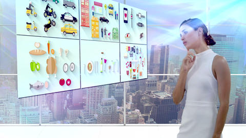 Businesswoman using digital screen Live Action