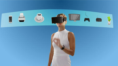Businesswoman using virtual reality glasses Footage