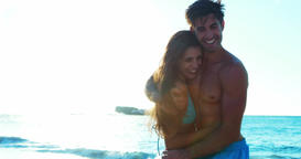Couple romancing at beach Footage