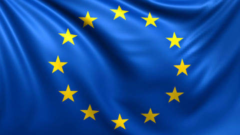 Flag of European Union. Seamless looped video, footage Animation