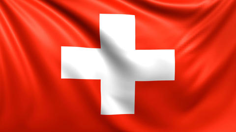 Flag of Switzerland. Seamless looped video, footage Animation