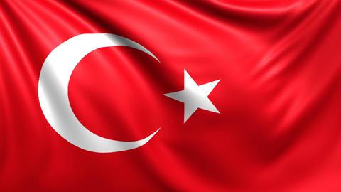 Flag of Turkey. Seamless looped video, footage Animation