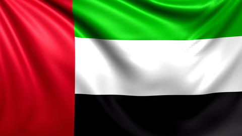 Flag of UAE. Seamless looped video, United Arabian Emirates footage Animation