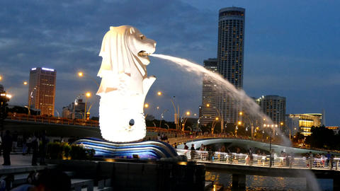 SINGAPORE - DEC 11: The Merlion fountain and Singapore skyline on December 12, 2 Footage