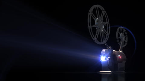 3D background Cinema Projector Working Projector Ray Of Light Reflecting Animation