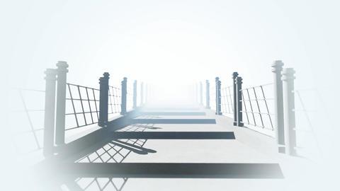 The camera passes along the stone bridge in fog and sunshine Animation