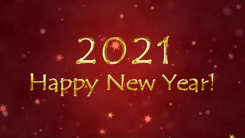 Congratulatory New Year video-card. Decorative gold title, confetti. Christmas. 3D animation Animation
