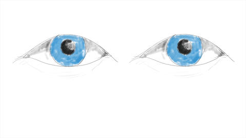 Human Eyes hand draw Animation Staring At The Camera Animation