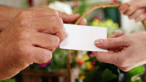 Florist giving visiting card and flower basket to customer in flower shop Footage