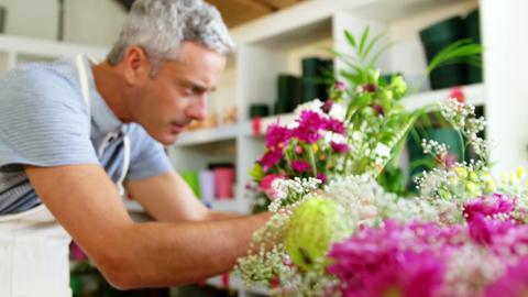 Male florist arranging flower bouquet in flower shop Footage