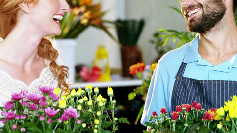 Florists holding bunch of flower and smiling Footage