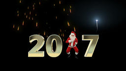 Santa Claus Dancing 2017 text, Dance 5, fireworks display Animation