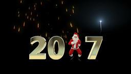 Santa Claus Dancing 2017 text, Dance 5, fireworks display Animation