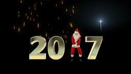 Santa Claus Dancing 2017 text, Dance 8, fireworks display Animation