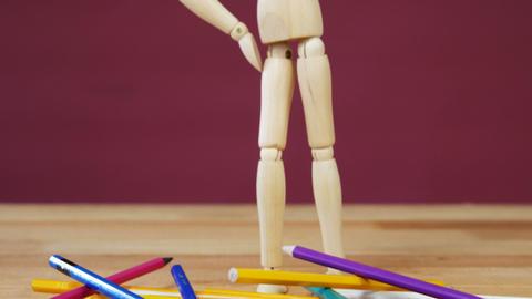 Depressed figurine standing Stock Video Footage