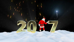 Santa Claus Dancing 2017 text, Dance 6, winter landscape and fireworks Animation