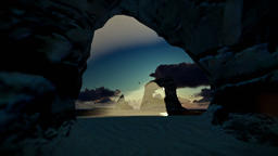 Tropical island with rocks in ocean at sunset Animation