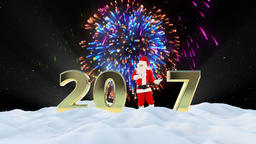 Santa Claus Dancing 2017 text, Dance 2, winter landscape and fireworks Animation