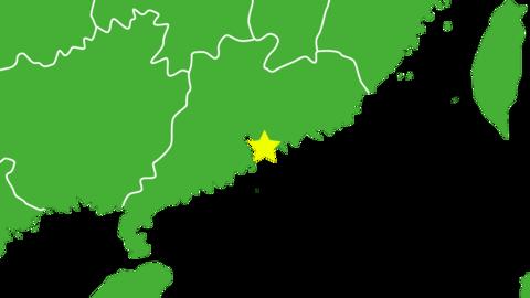 香港の位置がアップになって赤く表示されます 香港の地図 CG動画
