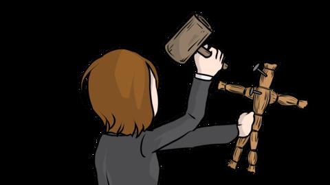 Woman hitting a straw doll (loop animation) Animation