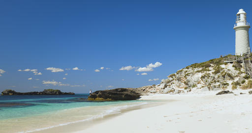 Pinky beach of Rottnest Island, Perth Australia. Tourism and lifestyle concepts Live Action