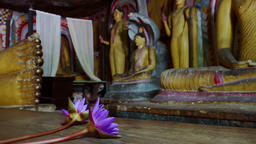 Panning video of meditating Buddhas in sacred Golden Temple. Sri Lanka Footage