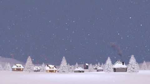 Snow covered village at snowfall winter evening Animation