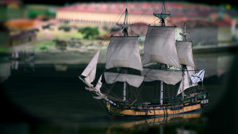 Sailing ship close to Footage
