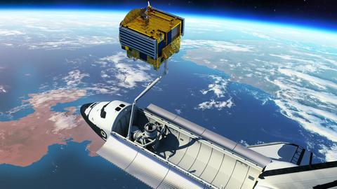 Space Shuttle Deploying Communication Satellite Animation