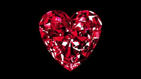 Iridescent Ruby Heart Cut. Looped. Alpha Matte Animation