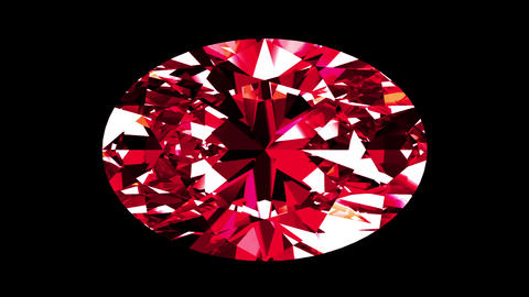 Iridescent Ruby Oval Cut. Looped. Alpha Matte Animation