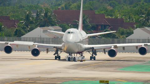 Airplane engines starts before departure Footage
