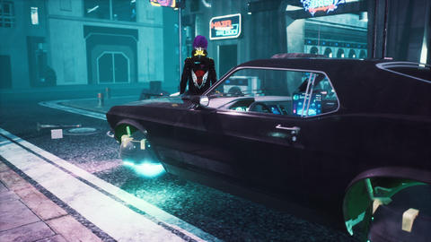 The girl relaxes while sitting on a futuristic car standing on the neon street of the city of the Animation
