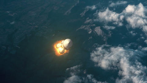 Cargo Carrier Rocket Takes Off Over The Clouds Animation