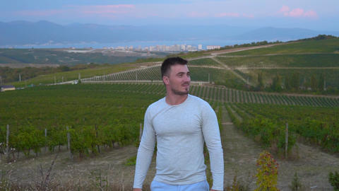 A young man walks at a height in the vineyards near the mountains with amazing Live Action
