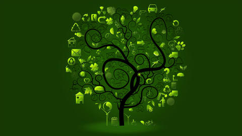 Animation made with ecological symbols in a tree Animation