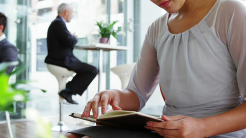 Business woman looking at diary Footage