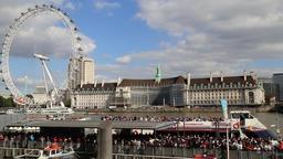Tourist boat arriving at Westminster Pier River Thames London UK 2a Footage