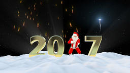 Santa Claus Dancing 2017 text, Dance 5, winter landscape and fireworks Animation