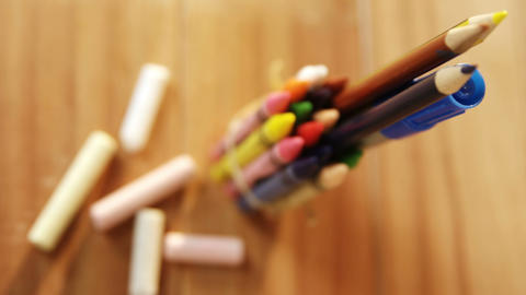 Close-up of colorful crayons and colored pencil Footage
