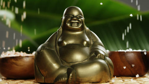 Close-up of laughing buddha figurine with falling pearl ビデオ