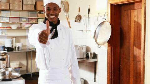 Portrait of chef showing thumbs up Live Action