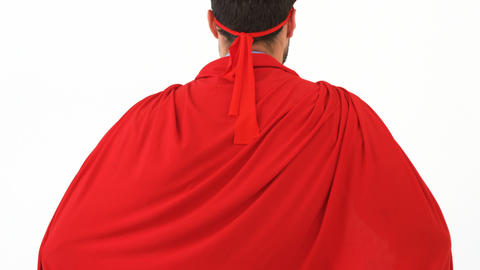 Rear view of man pretending to be a super hero Live Action