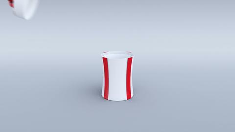 White gift box opening. Cylindrical shape. 4K Animation