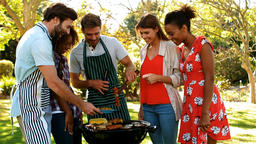 Group of happy friends preparing barbecue Footage